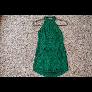 Green halter backless mini dress